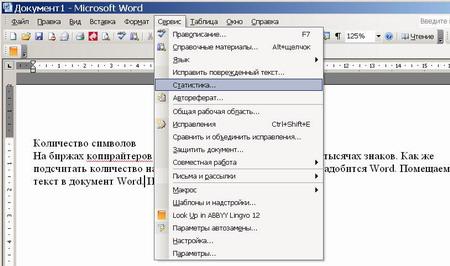 Word меню сервис статистика