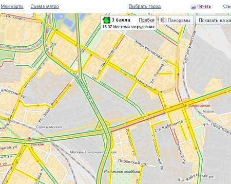 Яндекс-пробки на карте